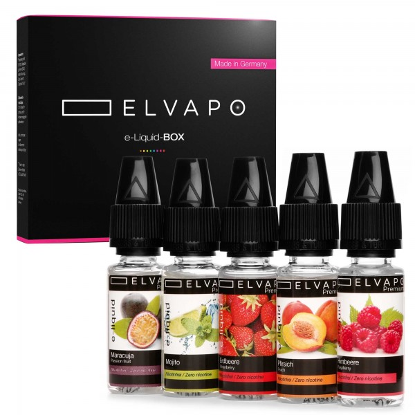 5 x 10ml Premium e-Liquid-BOX 4 ohne Nikotin