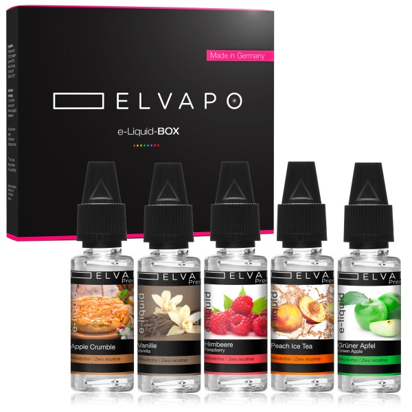 5 x 10ml Premium e-Liquid-BOX 9 ohne Nikotin