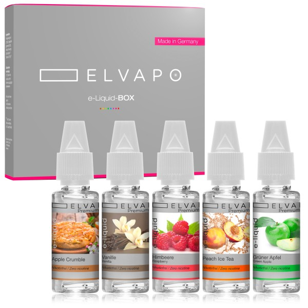 5 x 10ml Premium Plus e-Liquid-BOX 9 ohne Nikotin