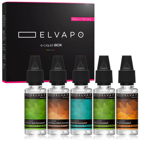 5 x 10ml Premium e-Liquid-BOX 1 mit Nikotin