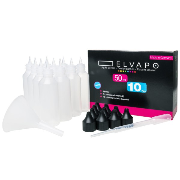 10 x 50ml Liquid-Flaschen-Set + Trichter + Pipette + 10 Etiketten